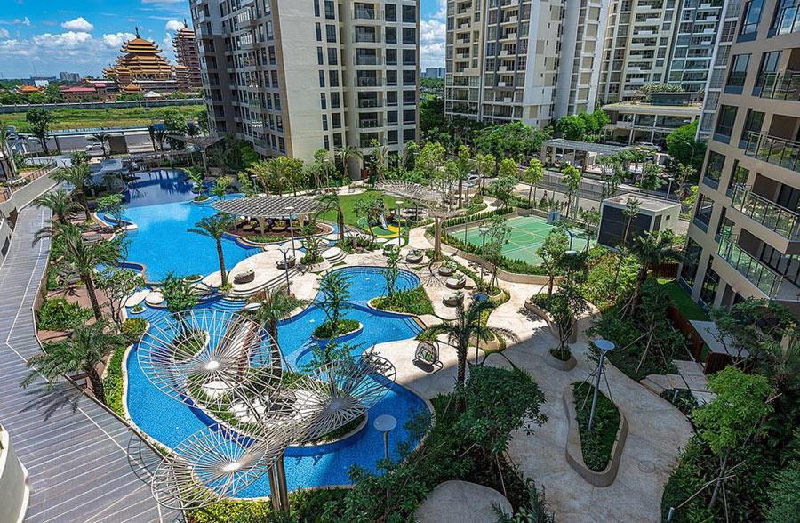 ho boi phong cach resort palm garden