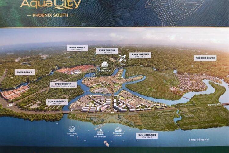 phoi canh tong the aqua city novaland