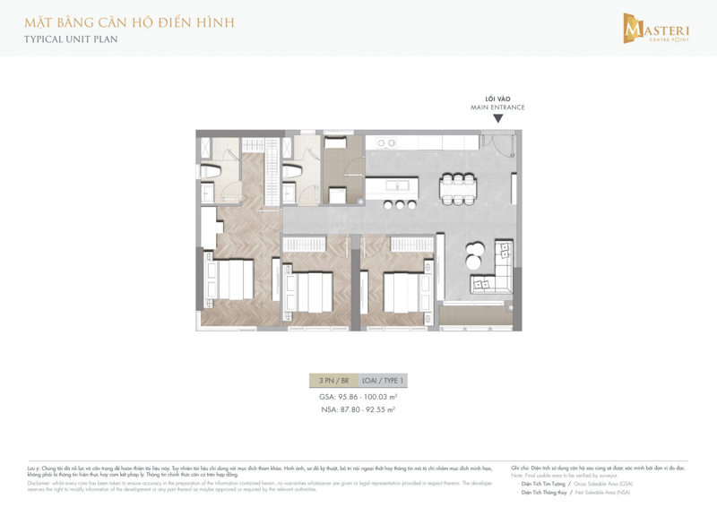 layout can ho masteri centre point 3pn